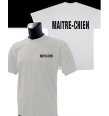 t shirt imprimé maitre-chien blanc