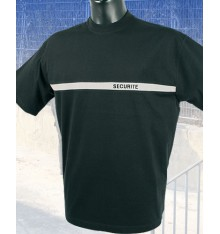 T shirt noir sécurité bande grise